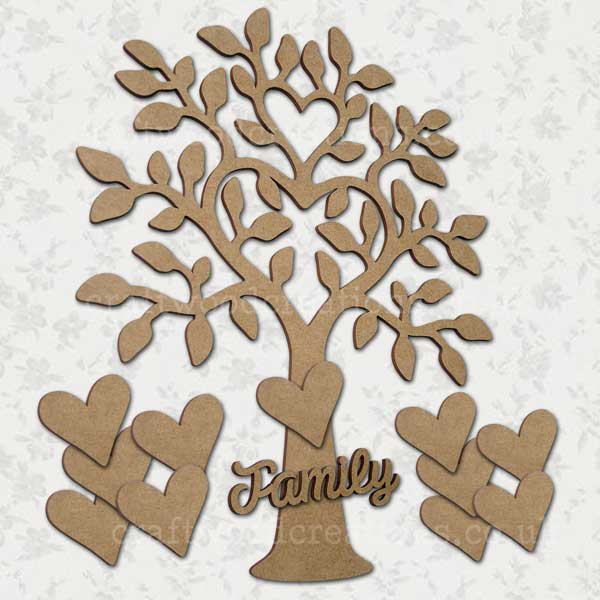 """Family Tree eleven heart and the word """"Family"""""""