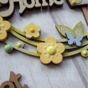 Home Sweet Home hanging sign with layered words, birdhouse and flowers. Sample