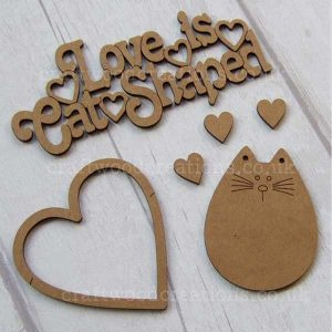 Love is Cat Shaped Sign with large heart, three small hearts and a cute little Cat.