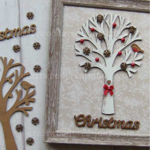 Robin in a tree, 10 snowflakes and Christmas Word