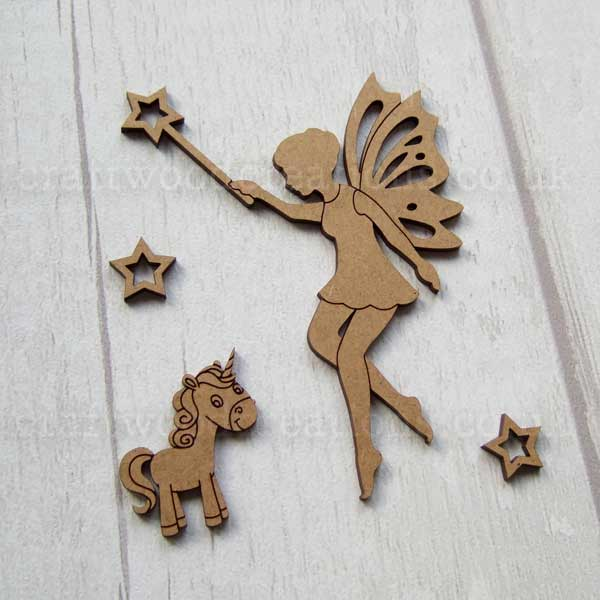 Fairy and Unicorn MDF Shape Set