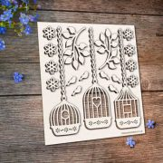 Chipboard Bird Cages with Flowers