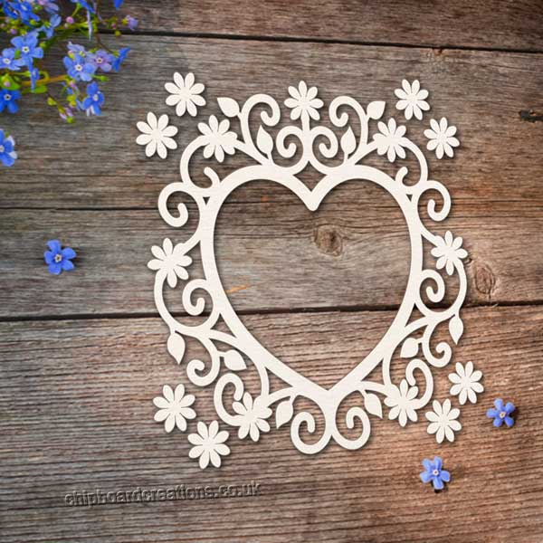 Chipboard Frame Heart and Flowers