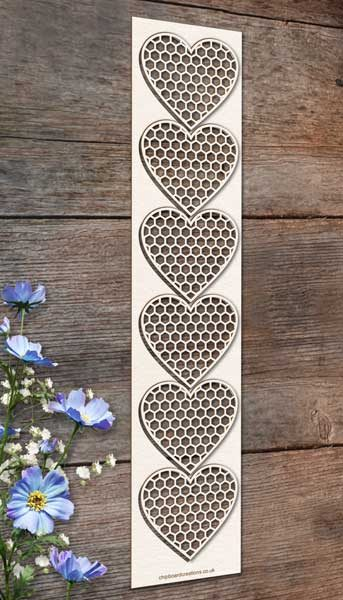 Chipboard Honeycomb Hearts