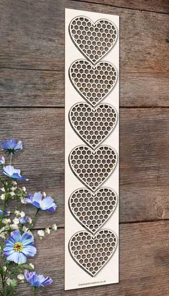 Chipboard Honeycomb Hearts