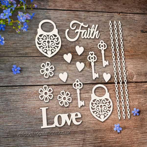 Chipboard Love Heart Locks