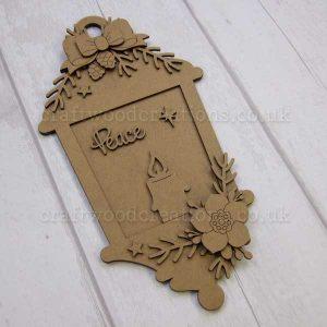 """Seasonals Collection Xmas Lantern Plaque """"Peace"""""""